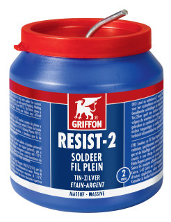Griffon Resist-2® Solder Wire Tin/Silver 97/3 Solid Ø 2.0 mm Container 500 g NL/FR