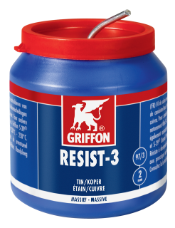 Griffon Resist-3® Solder Wire Tin/Copper 97/3 Solid Ø 2.0 mm Container 500 g NL/FR